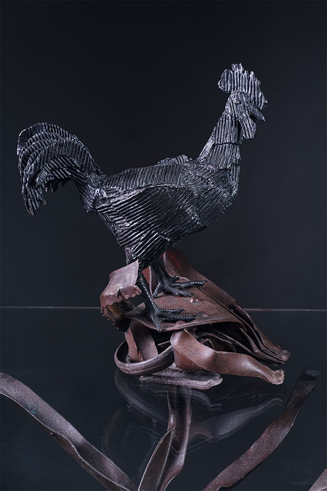 Le coq - Sculpture en bronze par Michel Audiard